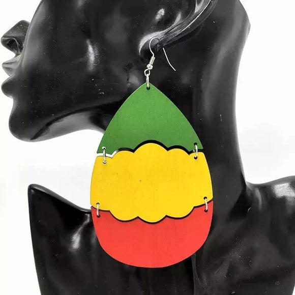 Delyse African Woman Afrocentric Wooden Earrings Africa Ethnic Tribal Boho Jewelry