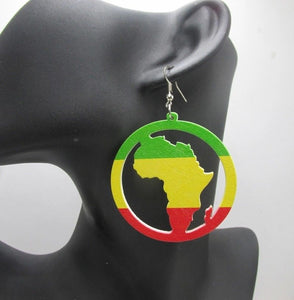 Cedella African Woman Afrocentric Wooden Earrings Africa Ethnic Tribal Boho Jewelry