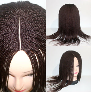 "New Handmade 16"" colour 33 Closure braid Wig Senegalese Micro twist"