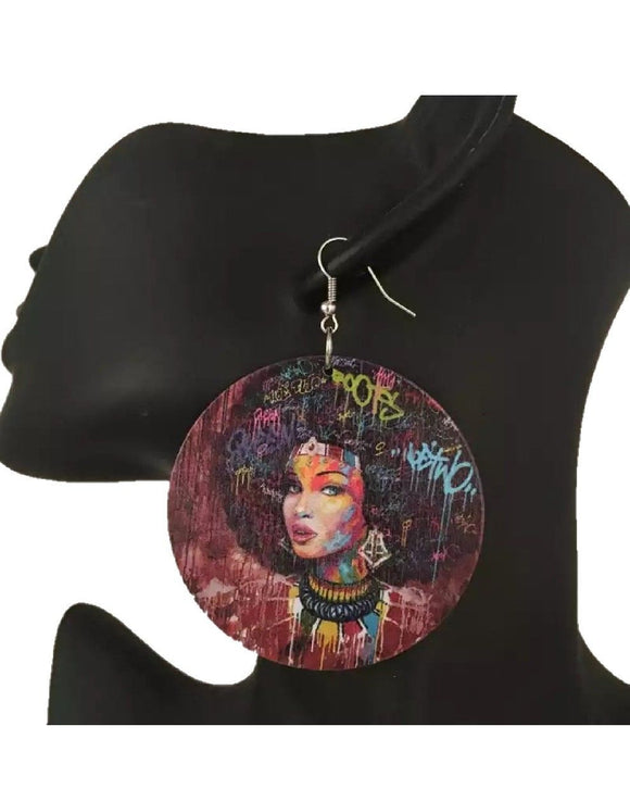 Sisi African Afrocentric Woman Wooden Earrings Ladies Jewelry