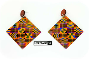 African Print Afrocentric wooden Earrings ladies Ethnic Tribal Boho jewellery