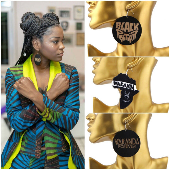 New African Woman Black Panther Marvel Comic Wakanda Forever Wooden Earrings