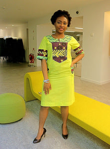 New ladies Multi patterned African Ankara dress with Crystals