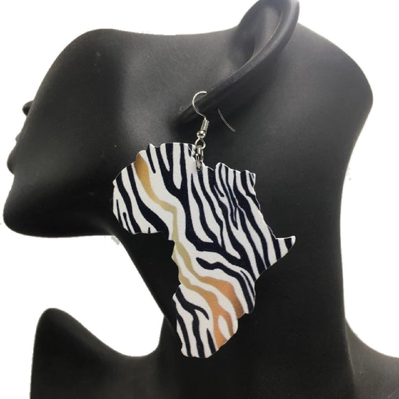 Dube African Woman Afrocentric Wooden Earrings Africa Ethnic Tribal Boho Jewelry
