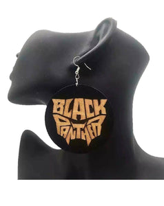 Okoy African Woman Wakanda Black Panther  Afrocentric Wooden Earrings Africa Ethnic Tribal Boho Jewelry