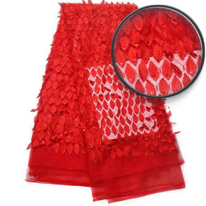 Faye (Red) African 3D French Net Lace fabric Mesh Tulle Sequins 1yard Quality