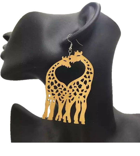 Thuda African Afrocentric Woman Wooden Earrings Ladies Jewellery