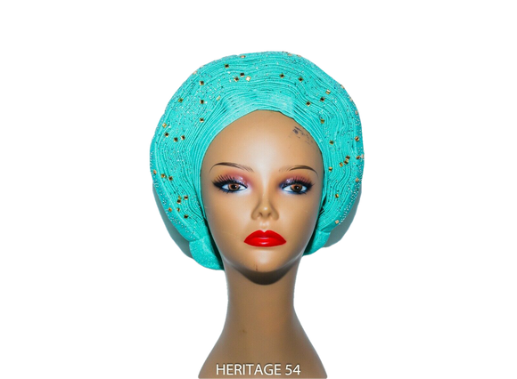 Seyi Auto Gele Neatly Pleated Shiny Asoke Headwrap African Women Headtie
