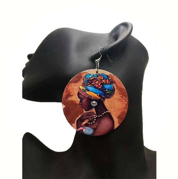 Tukwi African  Woman Wooden Earrings Ladies Jewelry