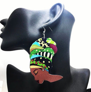 Duku African Woman Afrocentric Wooden Earrings Africa Ethnic Tribal Boho Jewelry