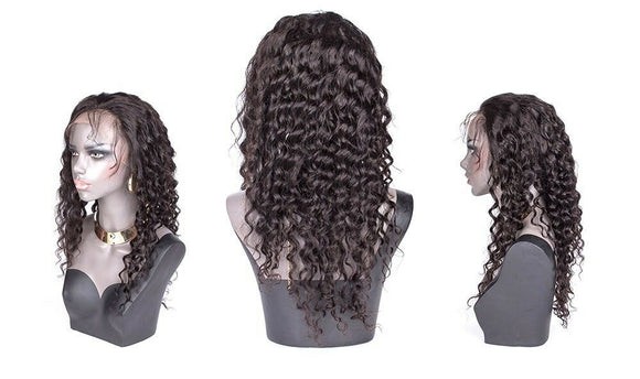 "Idara 10"" Deepwave Lace Front Human Hair Wig Free Part Brazilian Baby Pre Plucked Hairline Bleached Knots"
