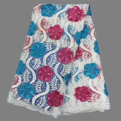 Ifeoma (Blue &Pink) African Lace fabric Embroidery Mesh Tulle Cord Sequins 1yard