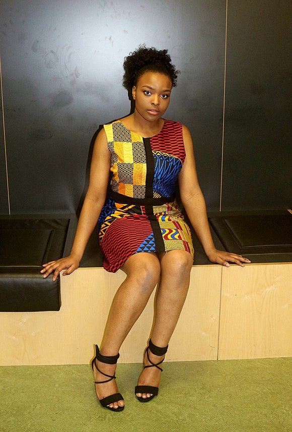 New ladies Multi Coloured Panelled African Wear Ankara Pencil Dress