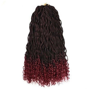 "Kenoye 24"" T1B/Burgundy Pre Twist Box Braids Crochet Hair Extensions 24 roots"