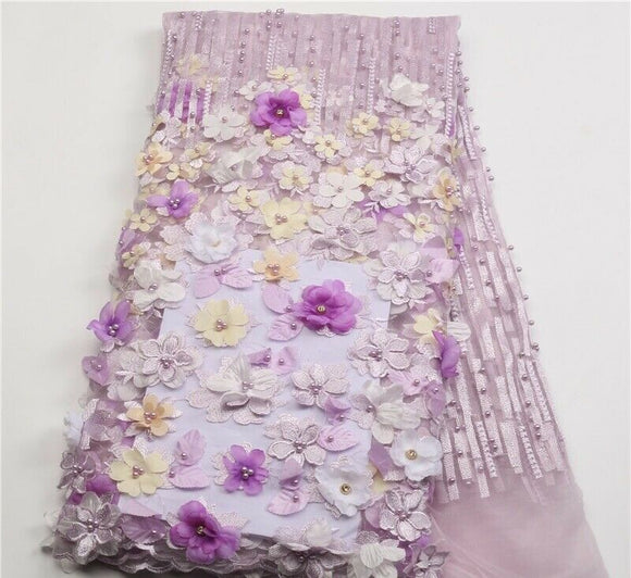 Eseosa Lilac African Lace Fabric 3D Flowers Beaded French Tulle 1yard Quality