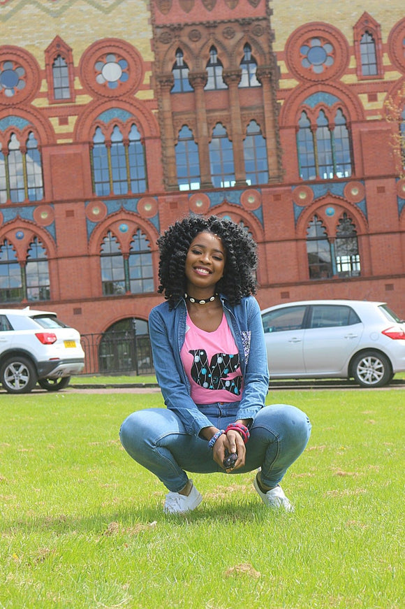 Nakia (Pink) African Fabric Patch Ladies Tshirt Cotton Women's Tee Shirt T-Shirt