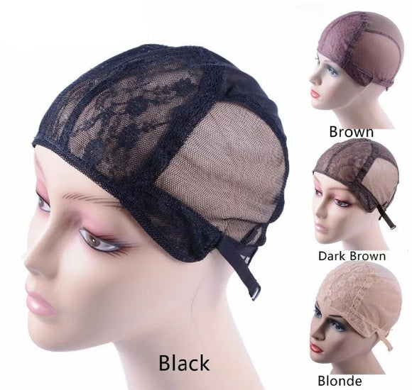 Double Lace Wig Caps For Making Wigs And Hair Weaving Stretch Adjustable Dome Cap with straps