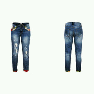 New Ladies Ripped Knee Cut African Ankara  Faded Boyfriend Denim