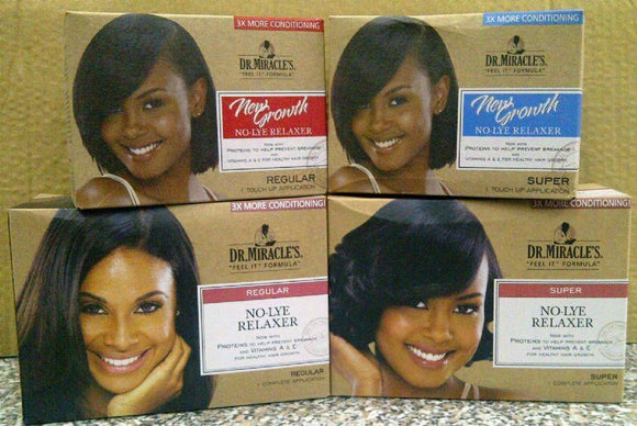 Dr. Miracle New Growth Relaxer Kit Regular Super Afro African Kinky Hair Product