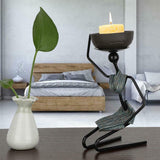 African Woman Shape Candlestick Iron Candle Holder Home Ornament Home Decoration