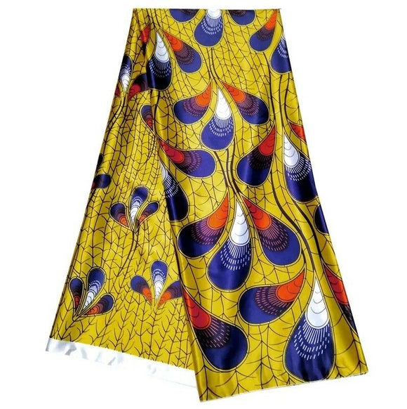 Yemi African Soft Satin Silk Print Ankara Fabric High Quality Per yard 36x60inch