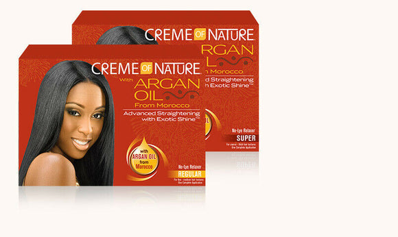 CREME OF NATURE MOROCCAN ARGAN OIL AFRICAN HAIR CARE Relaxer Kit Regular Super