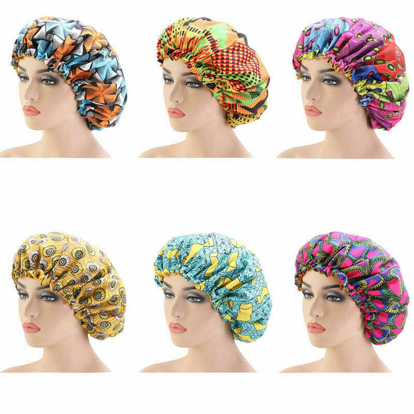 Reversible Adult Kids Silk Sleep Cap African Ankara Print Satin Hair Bonnet Set