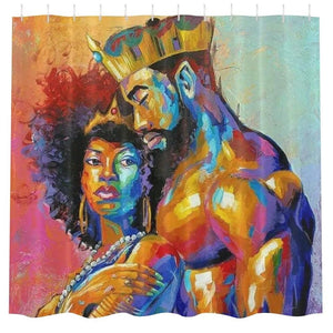 Ife African Handmade Art King & Queen Print Bathroom Shower Curtain Waterproof