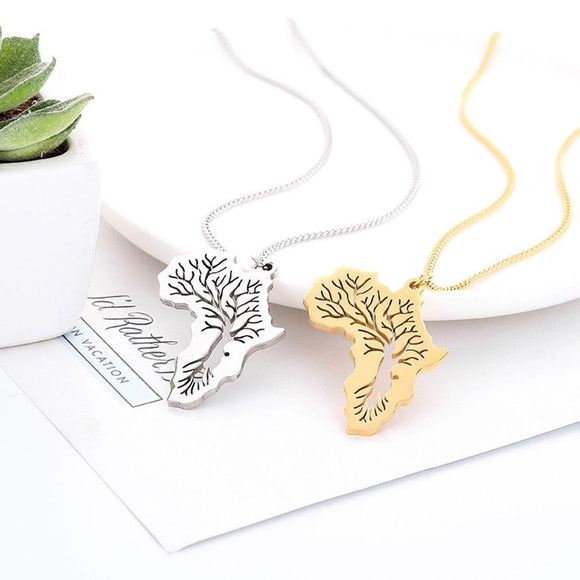 Mizizi African map Tree necklace and pendant (My Roots) Travel Gift Charm