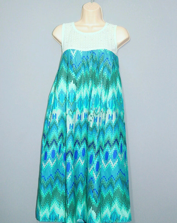 New African Ankara Green& blue maternity wear sleeveless midi dress size 12-14
