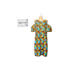 New ladies Multi coloured cold shoulder African Ankara Midi dress size 14-16