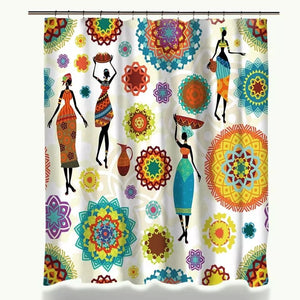 Aza African Print Bathroom Shower Curtains Polyester Waterproof Ethnic Tribal
