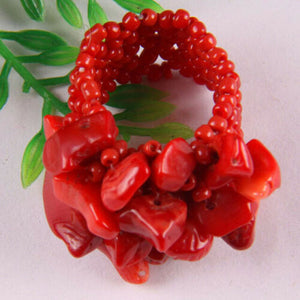 Ola Handmade African Natural Coral Stone Ring Bead Statement Jewellery Vintage