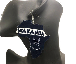 T'Challa African Map Wakanda Black Panther Woman Wooden Earrings Ladies  Africa Ethnic Tribal Boho Jewelry