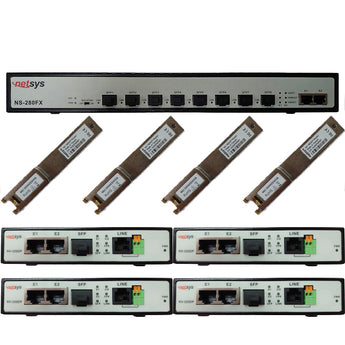 Kit - Unmanaged VDSL2 DSLAM Alternative with 4 End Points - NS-280FXKIT-4