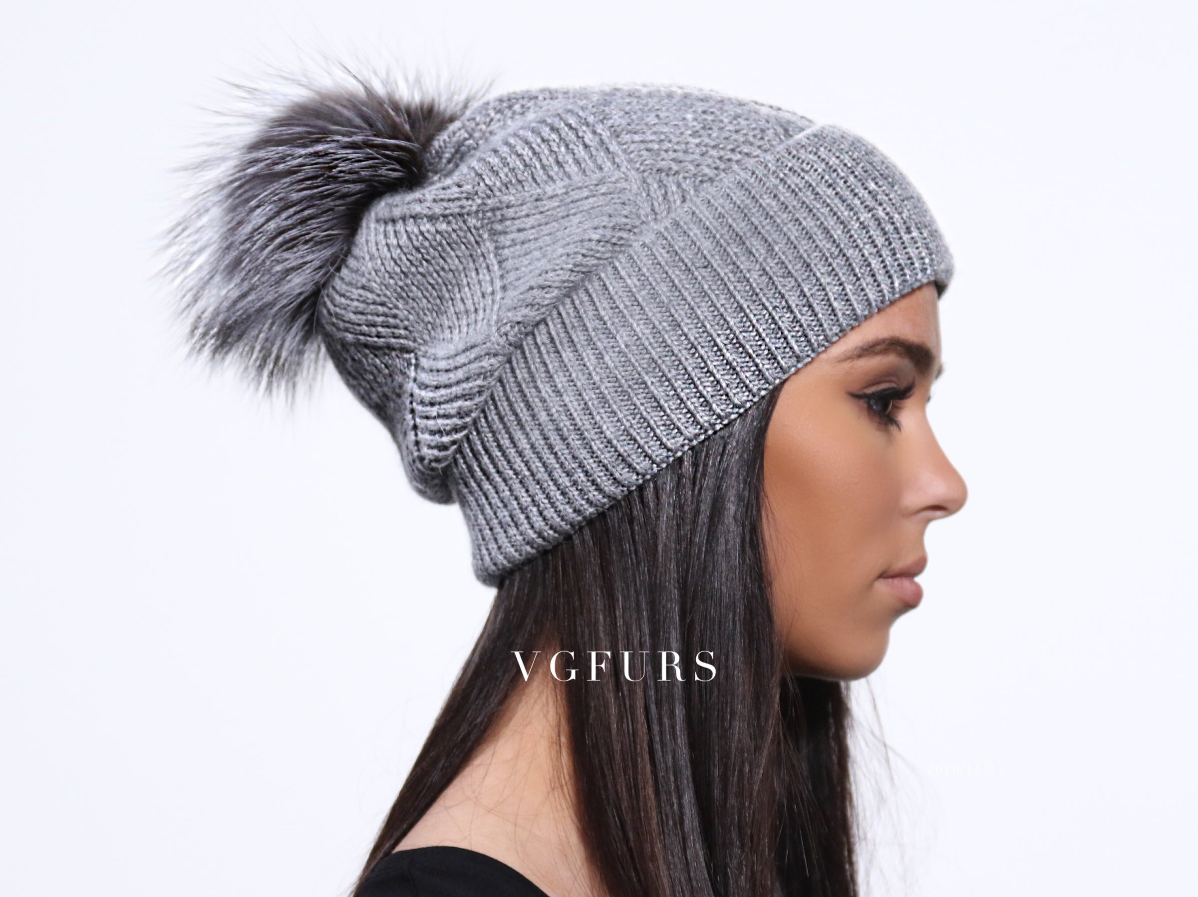 f78b7d72f339fc The CASHMERE WOOL Slouchy Beanie Hat- GREY – VGfurs