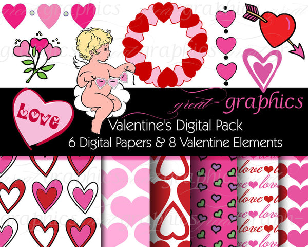 Valentine Digital Background Paper and Clip Art Valentine Printable Paper Digital Valentine Instant Download