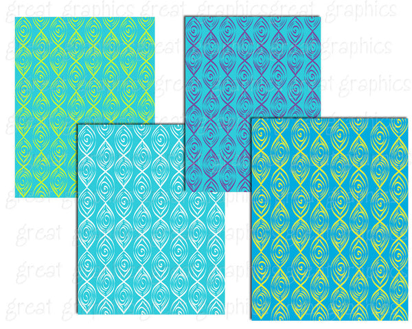 Aqua and Turquoise Swirl Pattern Digital Background Paper Invitation Background - Instant Download