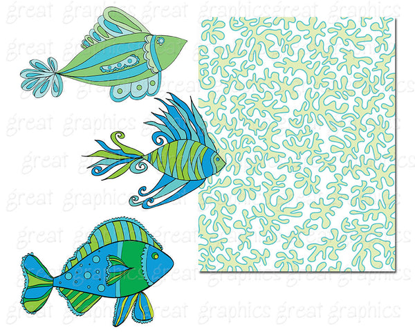 Blue Green Fish Printable Clip Art Blue and Green Fish Digital Paper and Clipart - Instant Download