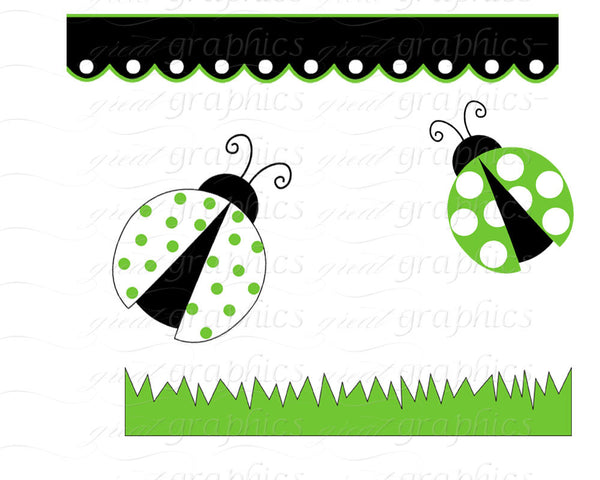 Green Lady Bug Clip Art Ladybug Digital Clip Art Digital Paper Ladybug Clipart Printable Ladybug Party Paper - Instant Download