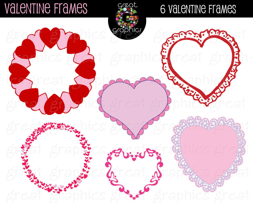 Pink and Red Valentine Heart Clip Art Frames Printable Clipart Label Frame for Valentine Invitations Party Decorations- Instant Download