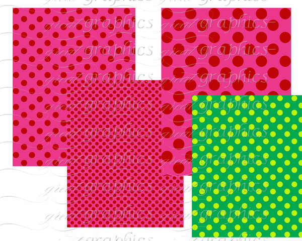 Christmas Polka Dot Paper -Set 2 Christmas Digital Paper Christmas Printable Invitation Paper Scrapbook Paper - Instant Download
