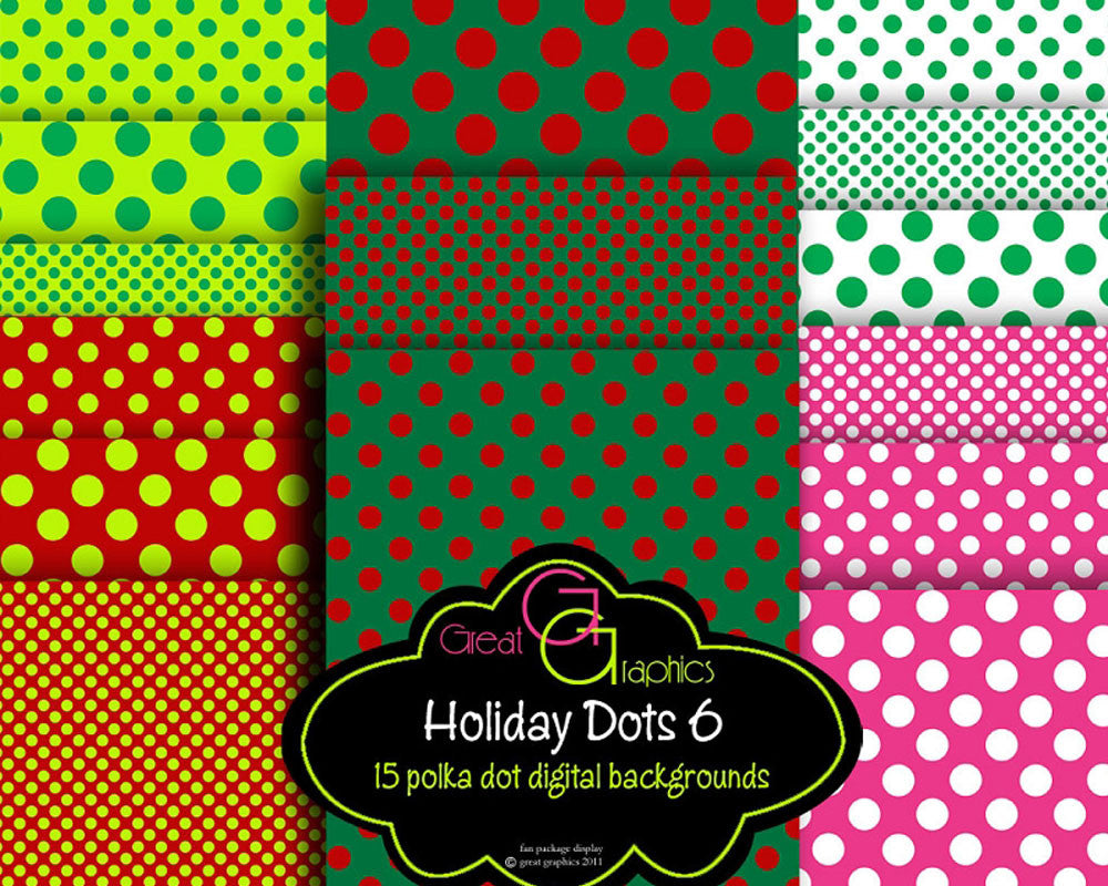 Christmas Polka Dot Paper -Set 6 Christmas Digital Paper Christmas Printable Invitation Paper Scrapbook Paper - Instant Download