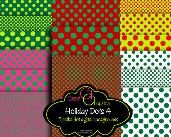 Printable Christmas Polka Dot Paper -Set 4 Christmas Digital Paper Christmas Printable Invitation Paper Scrapbook Paper - Instant Download