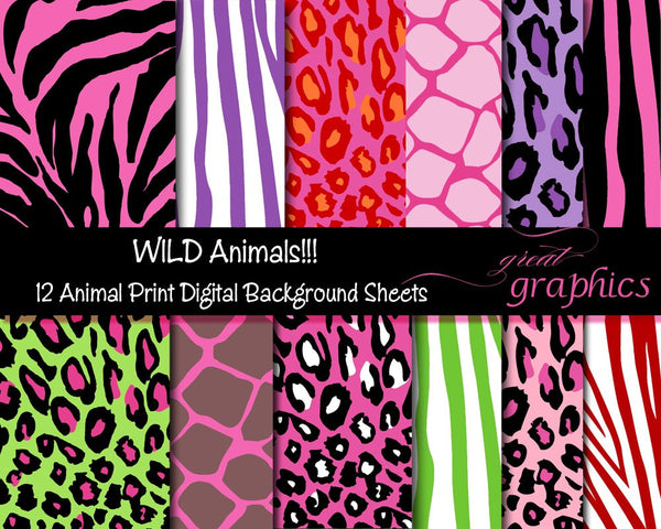 Animal Print Paper Digital Animal Print Pink Zebra Digital Paper Pink Leopard Print Giraffe Printable Invitation Paper - Instant Download