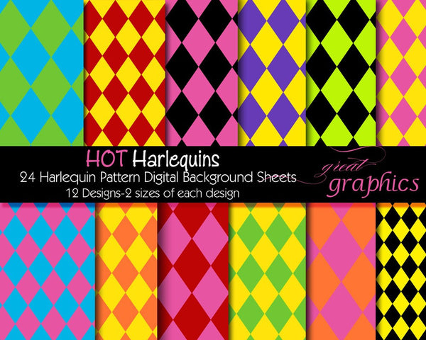 Harlequin Digital Paper Harlequin Paper Diamond Pattern Printable Paper Invitation Paper Party Paper Harlequin Print - Instant Download