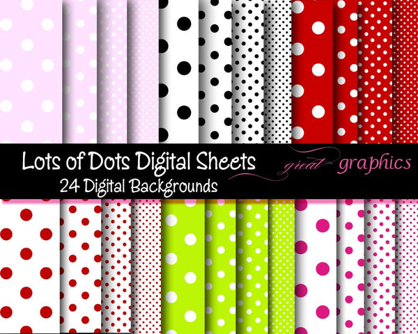 Printable Polka Dot Digital Paper Polka Dot Party Paper Invitation Paper Polka Dot Paper - Instant Download