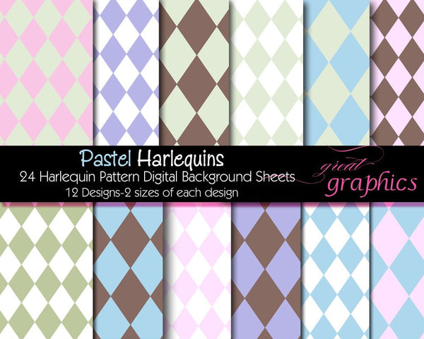 Harlequin Digital Paper Harlequin Pattern Digital Background Pastel Harlequin Paper Party Paper - Instant Download