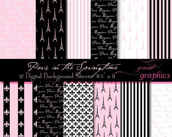 Paris Paper Pink Paris Digital Paper Paris Digital Paris Printable Eiffel Tower Paper Digital Invitation Paper - Instant Download