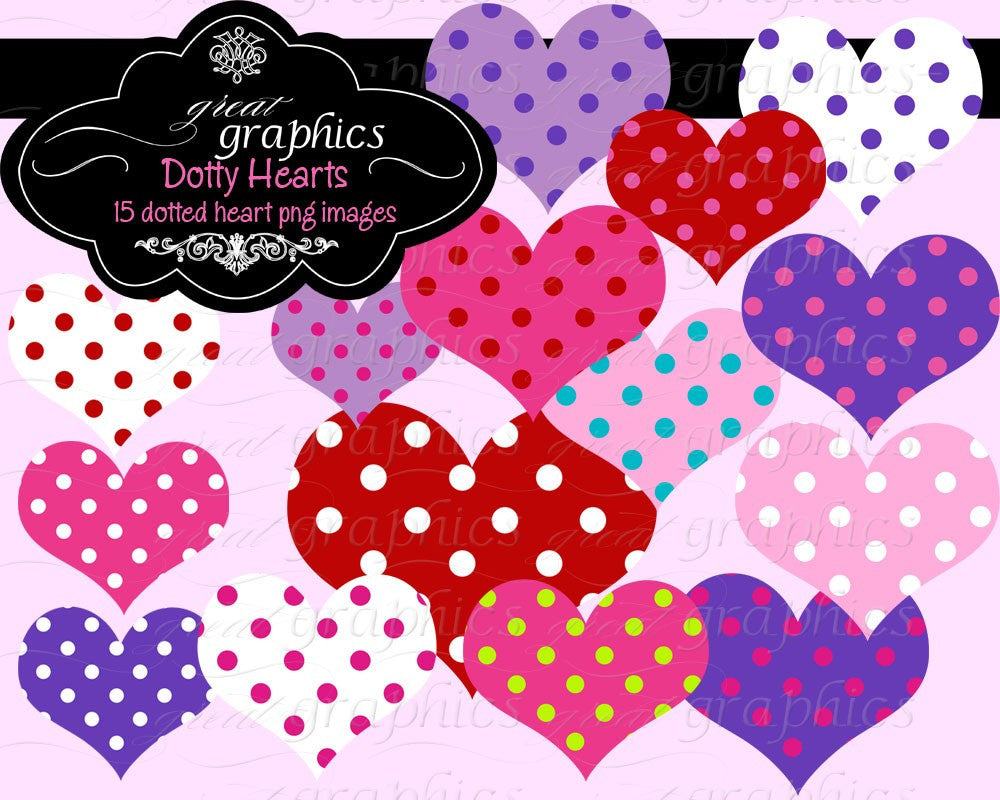 Heart Clipart Polka Dot Heart Heart Digital Clip Art Printable Heart Invitation Party Clipart Scrapbook - Instant Download